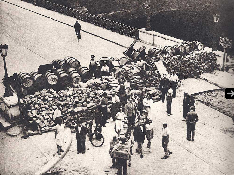 Barricade in Paris of 1944, used for the liberation of France.